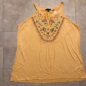 RXB NWT yellow top with embroidered bodice.